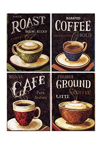 4 Pieces Modern Canvas Painting Wall Art The Picture for Home Decoration Retro Dark Cappuccino Latte Coffee Cafe with Letters in Vintage Style Coffee Print On Canvas Giclee Artwork for ()
