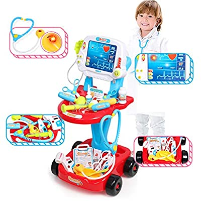 Auvem Kids Doctor Toy Set, Doctor Pretend Play Kit with Electric Simulation ECG Medical and Stethoscope, Organizer Role Playing Game Preschool Educational Toys (Red): Toys & Games