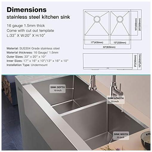 Farmhouse Kitchen MENSARJOR Kitchen sink,33 x 20 Inches Apron Front Farmhouse 60/40 Double Bowl 16 Gauge Stainless Steel Brushed Sink(33… farmhouse kitchen sinks