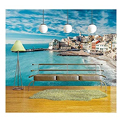 View of Bogliasco. Bogliasco is a Ancient Fishing Village in Italy - Removable Wall Mural | Self-Adhesive Large Wallpaper - 66x96 inches