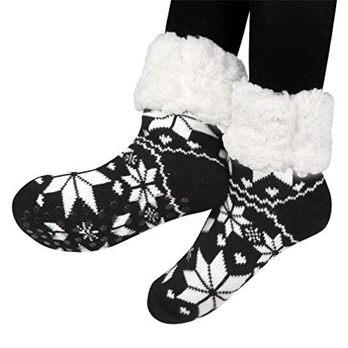 Antidérapantes Chaussettes Noël doublure Chauds Noir en avec d'hiver Chaussons Douillets polaire Laine Pantoufle Avec Prises Femme douce Thème 58q4wPn
