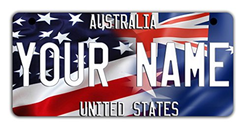 (BleuReign(TM Personalized Custom Name Mixed USA and Australia Flag Motorcycle Moped Golf Cart License Plate Auto Tag)