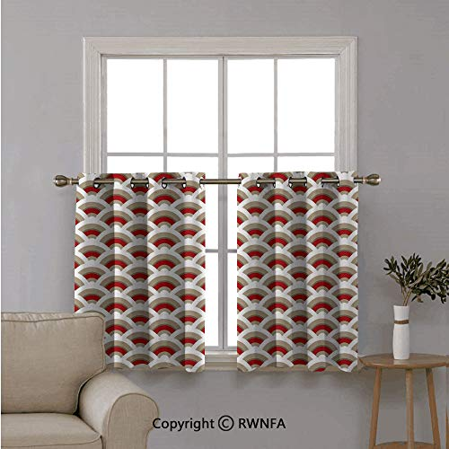 - Fashion Window Valances Curtain Panel Home,Oriental Scallop Pattern Inspired by Traditional Moroccan Arabesque,Top Window Treatments Short Curtains Tier,42