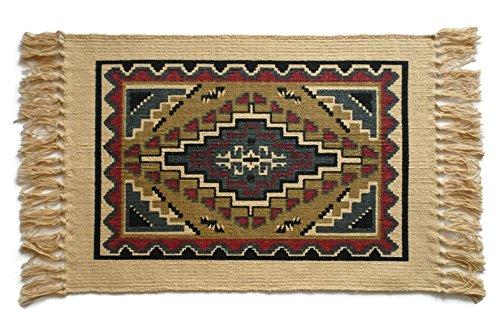 SB Co Southwest Cotton Stencil Placemats-Tapestry Tan Blue Diamond