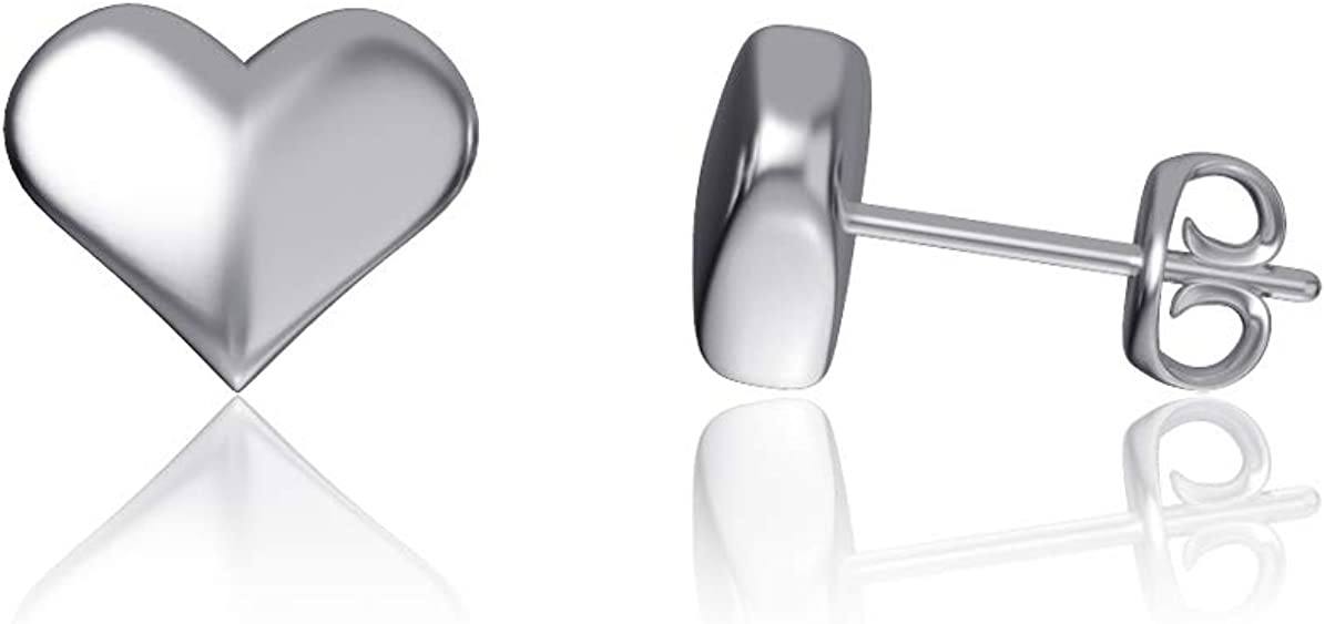 Heart Post Earrings - Sterling Silver Jewelry by Dayna Designs. Small for Women/Girls