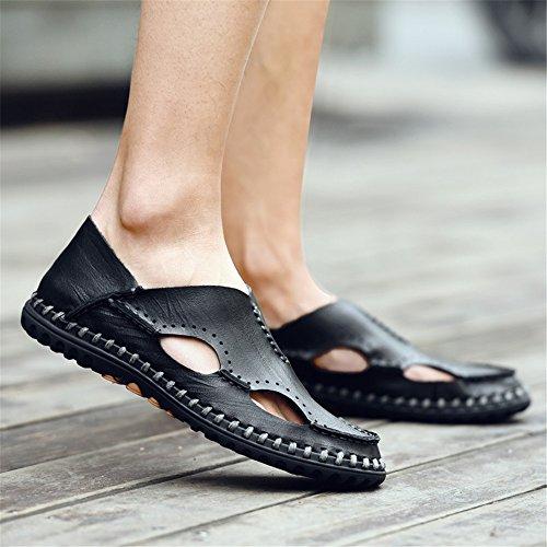 Black EU in Sandali pelle Size sandali in sudore regolabili 40 Dark estive Sandali uomo uomo da Qingqing 2 assorbenti brown Color ciabattine chiusi traspiranti pelle da traspiranti sandali 3 pfqwpAdO