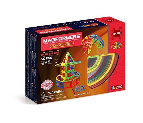 Magformers Curve 50 Pieces Rainbow Colors,  Educational Magnetic Geometric Shapes Tiles Building STEM Toy Set Ages 3+