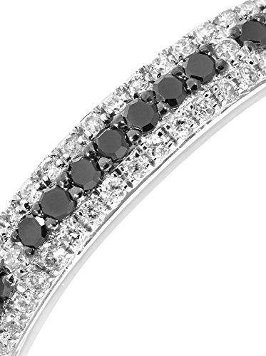 Revoni - Bague Éternité en or blanc 9 carats et diamants blancs et noirs 0,33 carat