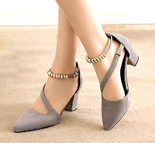 Sommer Sandalen Schnalle Miss Gao Gen Sandalen rau mit spitzen Schuhen grey