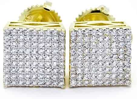 676d961dd HQ Gold Tone 925 Sterling Silver 8mm 9 Row Square Pattern Side ScrewBack  Earrings
