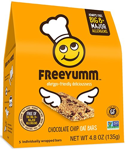 FreeYumm Allergen Free Granola Bars, Gluten Free, Dairy Free, Nut Free Snacks for Kids, Total of 15 Bars (Chocolate Chip)