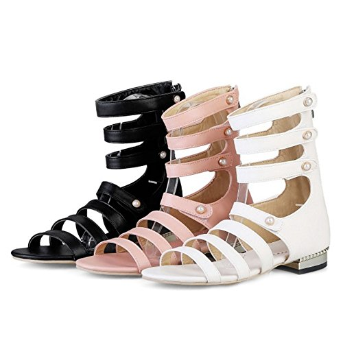 SJJH Roman Sandals with Large Size and Flat Heel Short Summer Gladiator Boots for Fashion Women Pink hlT6krEpEs