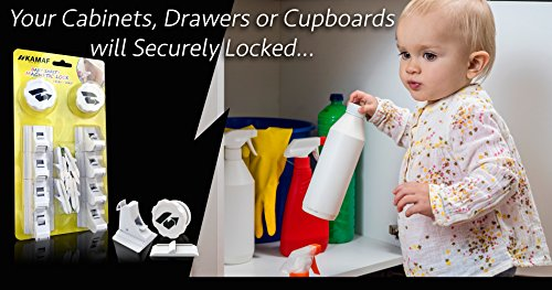 Baby Safety Magnetic Locks | Drill-Free, no Tools, no Screws | 8 Locks + 2 Keys | Child proofing for Cabinets Doors Drawers Cupboards | Invisible on Furniture | Easy to Install, Self-Adhesive 3M Tape by KAMAF SAFETY (Image #4)