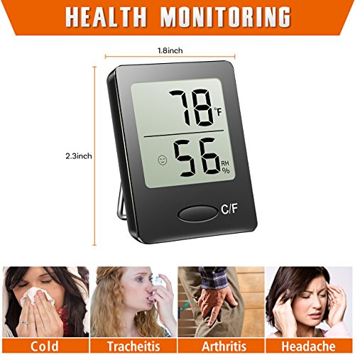 Habor-Portable-Hygrometer-Thermometer-Digital-Indoor-Outdoor-Humidity-Monitor-with-Table-Standing-Wall-Hanging-Magnet-Attaching-for-Greenhouse-Basement-Office-Badyroom-Guitar-room