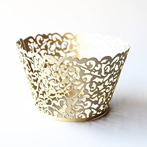 Gospire 50 pcs Pearl Lace Filigree Wedding Cupcake Wrapper Baking Cake Cups Wraps Party Decoration Laser Cut Titanium (Halloween Gift Wrapper)