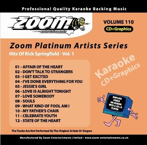 - Zoom Karaoke CDG/CD+G Platinum Artists - Volume 110 : RICK SPRINGFIELD By Zoom Karaoke (Author) (0001-01-01)