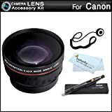 Wide Angle Lens Kit For CANON VIXIA HF R82 HF R80 HF R800 HF R700 HF R72 HF R70 Camcorder Includes High Definition .43x Wide Angle Lens W/ Macro + LensPen Cleaning Kit + Lens Cap Keeper + More