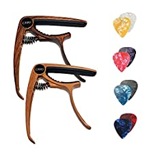 2 Pcs Classical Guitar Capos with 8 Pcs Guitar Picks for Acoustic Guitar (2 Pcs Wood Color)