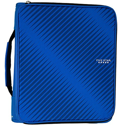 Five Star 2 Inch Zipper Binder, 3 Ring Binder, 6-Pocket Expanding File, Durable, Blue (72534)