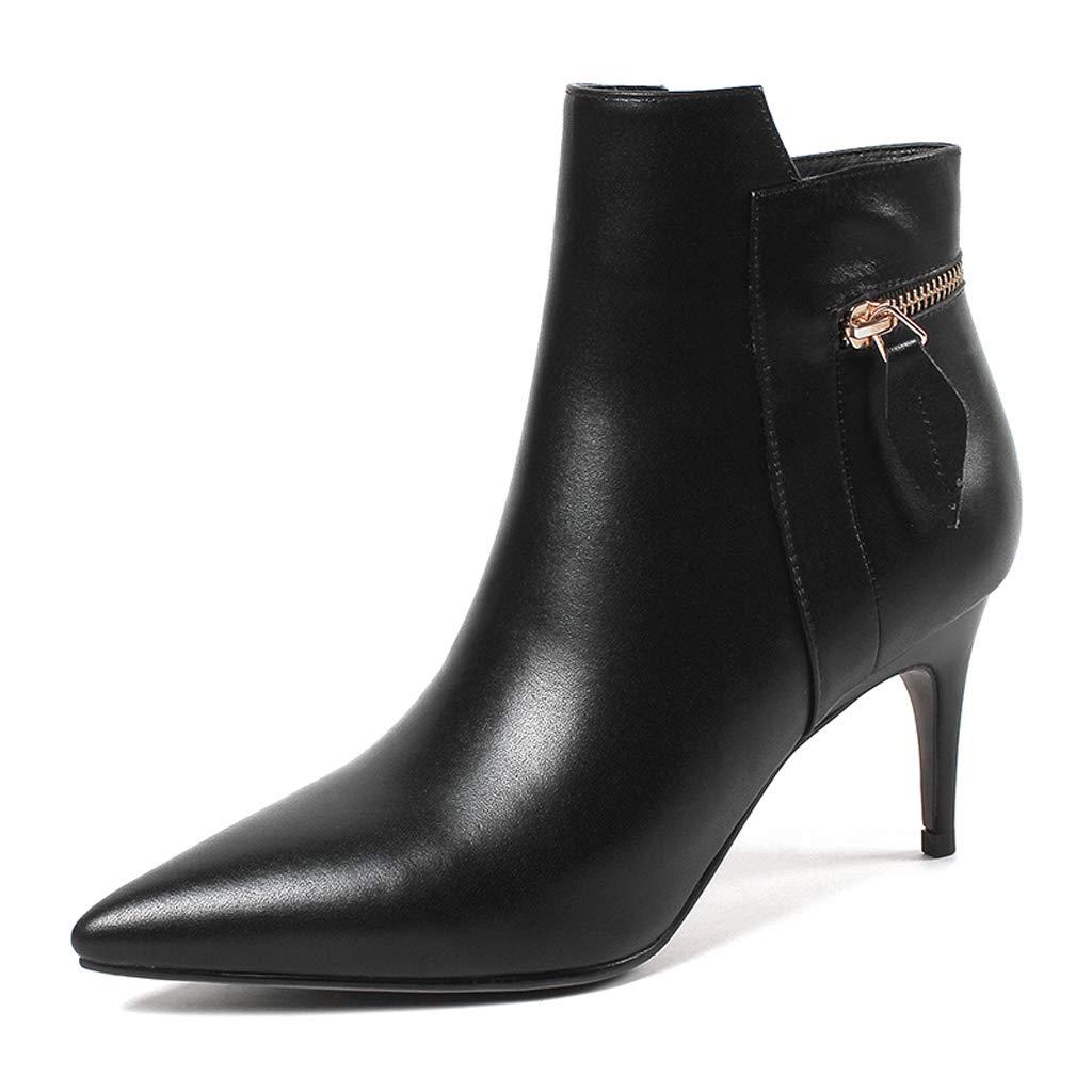 Stiefelies Female 2018 Herbst und Winter Neue Leder High Heel wies Pfennigabsatz Stiefel Wildgröße Code Plus Samt Damen Stiefel (Farbe   SCHWARZ, größe   38)