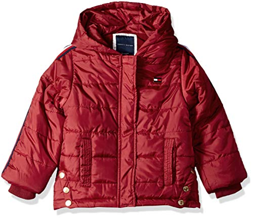 (Tommy Hilfiger Girls' Toddler Quilted Puffer Jacket, Rhubarb 4T)