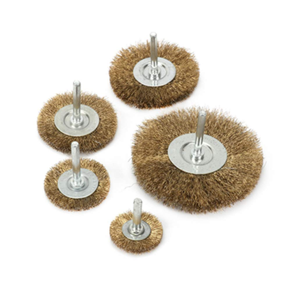 """5Pcs Crimped Brass Wire Wheel Brush For Rust Removal Paint Deburring 1//4/"""" Shank"""