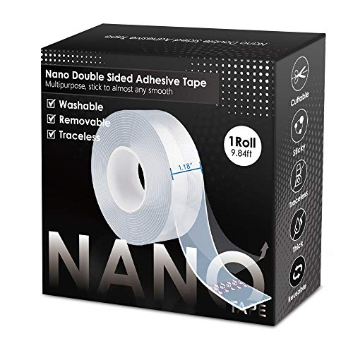 2021 Upgraded Premium Nano Double Sided Tape Heavy Duty,Multipurpose Transparent Poster Tape, Adhesive Strips Strong Sticky Mounting Tape Wall Tape Picture Hanging Strips Gel Tape (9.84FT)