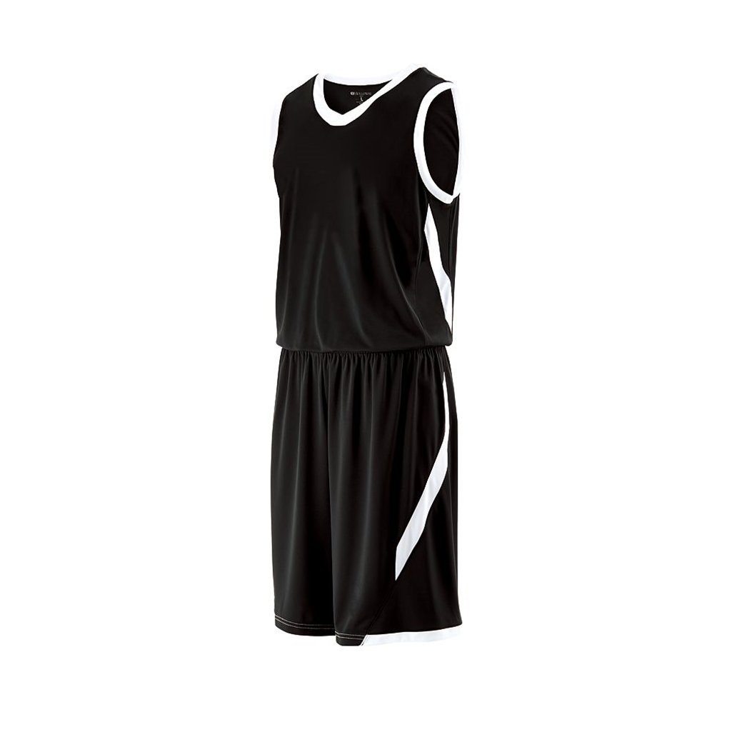 Holloway Youth Lateral Dry Excell Basketball Jersey (Youth Small, Black/White)
