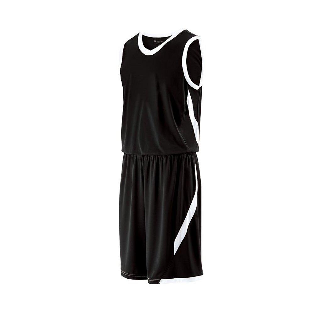 Holloway Youth Lateral Basketball Shorts (Youth Medium, Black/White)