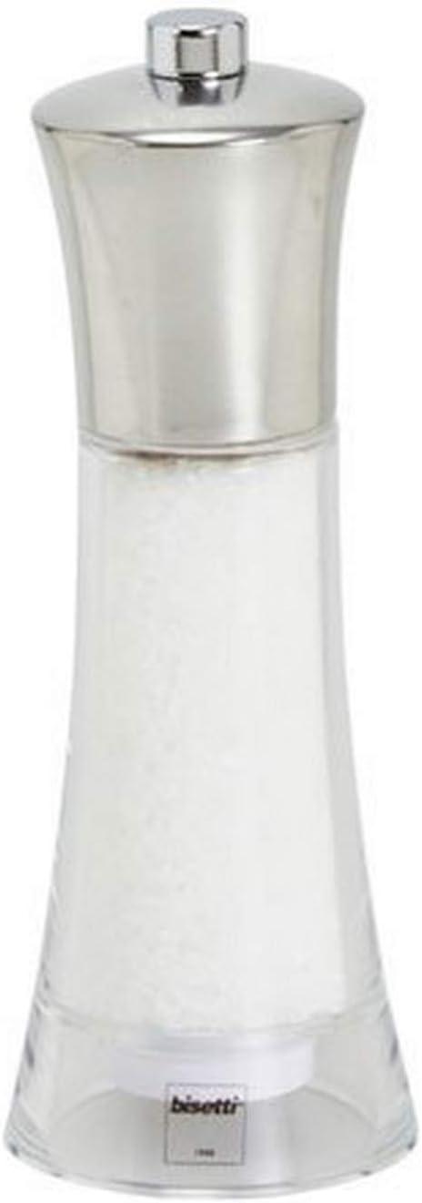 Silver 6.9 Bisetti Verona Acrylic Salt Mill With Stainless Steel Head