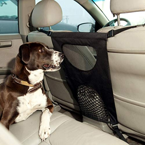 GoodStore Dog Barrier, Pet Dog Car Barrier Seat Mesh Obstacle, Oxford Cloth Dog Backseat Barrier Adjustable Divider to Keep Driver Safety, Easy to Install for Car,SUV,Truck (Black) (Black 01) from ONMIER