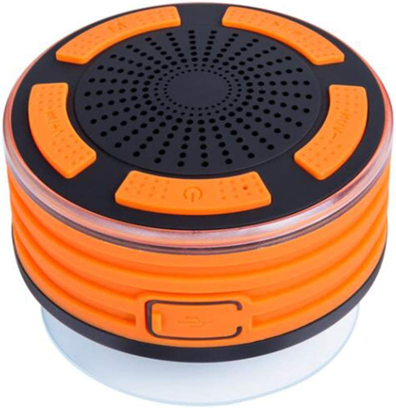 Waterproof Bluetooth Speaker, Yapeach Portable Wireless Music Player with Stereo Sound FM for Shower Party Home Outdoor (Orange)