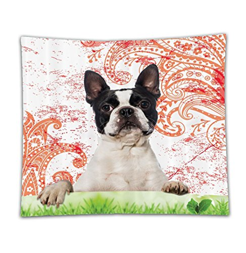 Beshowereb Fleece Throw Blanket Purebred Cute Boston Terrier Artwork Posing on Grass Decorative Picture Design Black White Green and Red Print Pet Lover Owner Decor Crimson - Machine (Boston Terrier Costume For Baby)