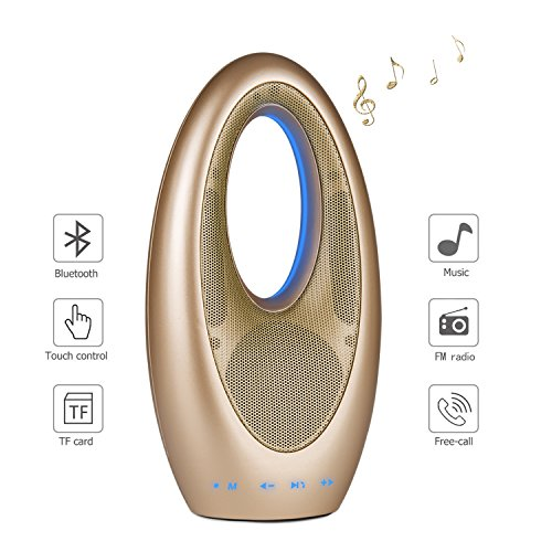 Bluetooth Speakers with FM Radio, Ayoki Portable Wireless Speaker Bluetooth 4.2, Innovative Sailing Design, Loud Sound Rechargeable Stereo Speakers with Subwoofer Built-in Microphone (Gold)