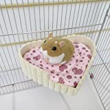 Kathson Small Animal Wooden Lookout Platform and Hamster Bed Sleep Mat Pad for Hamster/Hedgehog/Squirrel/Mice/Rats/Mini Dutch Pig/Chinchilla Cushion Cages Accessories Wooden
