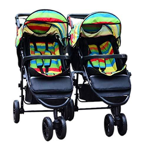 TZZ Double Baby Stroller, Jogging Stroller, Twin Tandem Umbrella Stroller with Adjustable Backrest, Footrest, 5 Points Safety Belts, Foldable Design for Newborn and Toddler (Color : Green)