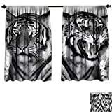 Qianhe-HOME Room Darkening Thermal Insulated Safari Cat Expression Opposite Images Fearsome Teeth Mirror Angry Intense Wildlife Blackout Curtain for Living Room (W55 x L45 -Inch 2 Panels)