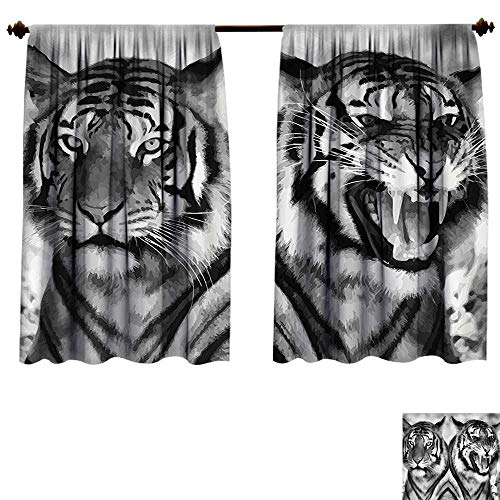 Qianhe-HOME Room Darkening Thermal Insulated Safari Cat Expression Opposite Images Fearsome Teeth Mirror Angry Intense Wildlife Blackout Curtain for Living Room (W55 x L45 -Inch 2 Panels) by Qianhe-HOME