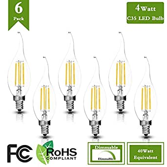(Pack of 6)C35 Led Candelabra Bulb 40W Incandescent Replacement, 4000K Neutral White 400Lumens E12 Base 4W Dimmable LED Filament Flame Tip Vintage Candle Light Bulb For Home, Living Room