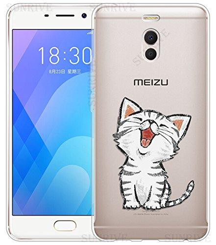 Funda Para Meizu M6 Note 5,5 pulgadas, Sunrive Silicona Funda Slim Fit Gel Transparente Carcasa Case Bumper de Impactos y Anti-Arañazos Espalda Cover(tpu Gato 3)+1 x Lápiz óptico tpu Gato 2