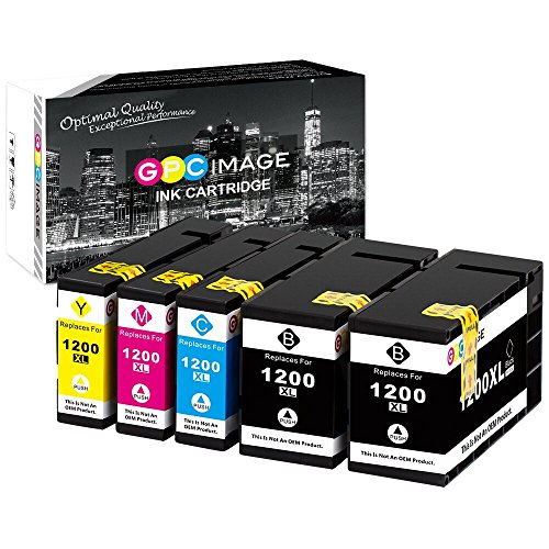 GPC Image Compatible Ink Cartridge Replacement for Canon PGI-1200XL PGI-1200 XL 1200XL to use with MAXIFY MB2320 MB2020 MB2720 MB2120 MB2050 MB2350 Printer (Black, Cyan, Magenta, Yellow, 5-Pack)