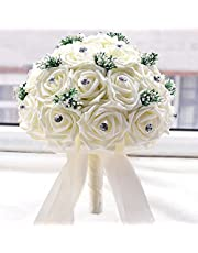 Anself Ivory Wedding Flower Bouquet with 30 Hand Made Diamond Roses for Decoration Supplies