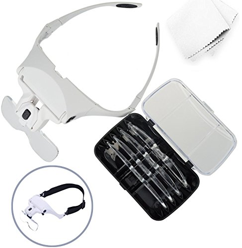 Glam Hobby h6902B Head Mount Magnifier with LED Head Light Bracket and Headband, 5 Replaceable and Interchangeable Lenses: 1.0X, 1.5X, 2.0X, 2.5X, 3.5X