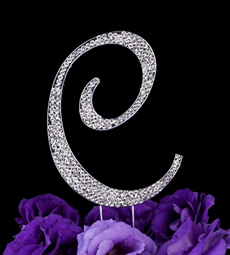 Crystal Letter Cake Toppers (LOVENJOY Gift Box Pack Personalized Letter C Crystal Rhinestone Wedding Engagement Birthday Bridal Shower Metal Cake Decoration Topper Silver ( 3.3-inch))