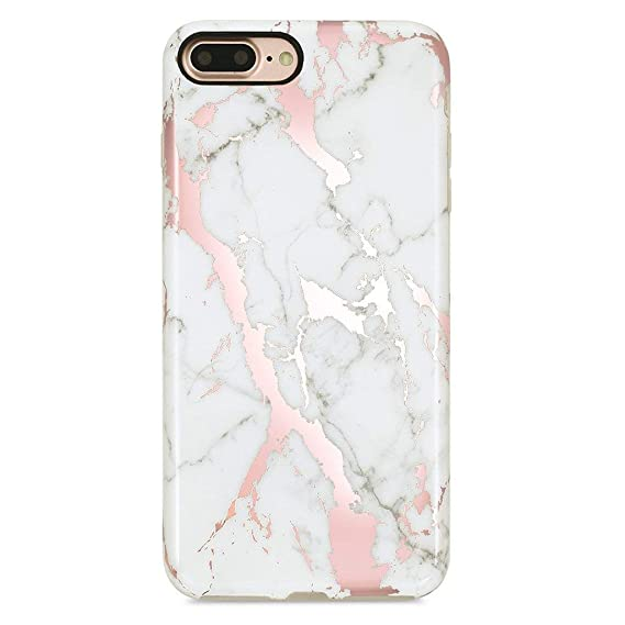 GOLINK iPhone 7 Plus Case for Girls/iPhone 8 Plus Marble Case, Glossy Rose  Gold Marble Series Slim,Fit Shockproof Dust Proof Sparkling Shiny TPU Case