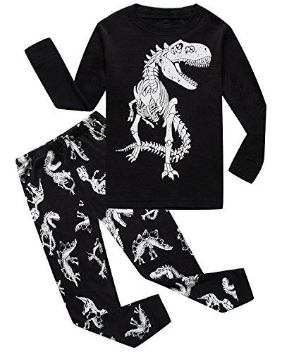 Boys Pajamas Dinosaur 100% Cotton Toddler Clothes Kids Pjs Children Sleepwear Shirts Size 6 Black