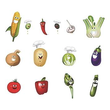 decalmile Vegetales Cocina Pegatinas Pared Desmontable Divertido Maíz Chile Fruta Vinilo Decorativos Adhesivos para Cocina Comedor