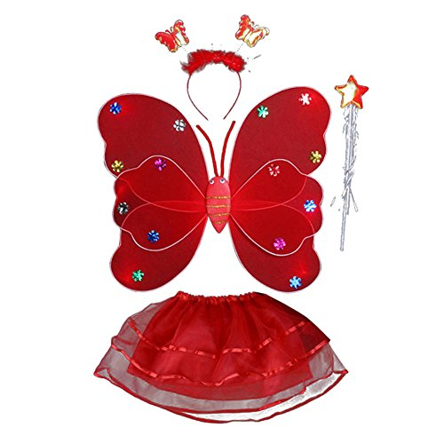 Fairy Lumimous Kids Halloween Costume Props Butterfly Wing Wand Headband Tutu Skirt Set (Make Your Own Angel Costume For Halloween)