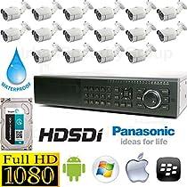 USG Business Grade 1080P 16 Camera HD-SDI CCTV Kit: 1x 16 Ch HD-SDI DVR (1080P @ 30FPS Live & Recording) + 16x HD-SDI 1080P 3.6mm Bullet Cameras + 1x 3TB HDD Affordable High Definition CCTV