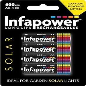 Infapower - Pack de 4 pilas recargables AA (600 mAh, para lámparas solares): Amazon.es: Electrónica